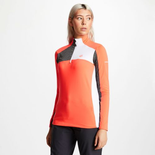 Women's Default Core Stretch Half Zip Midlayer - Fiery Coral Charcoal Grey